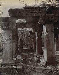 Close view showing details of pillars of ruined temple known as Bhim-ka-Chauri, Mokundara